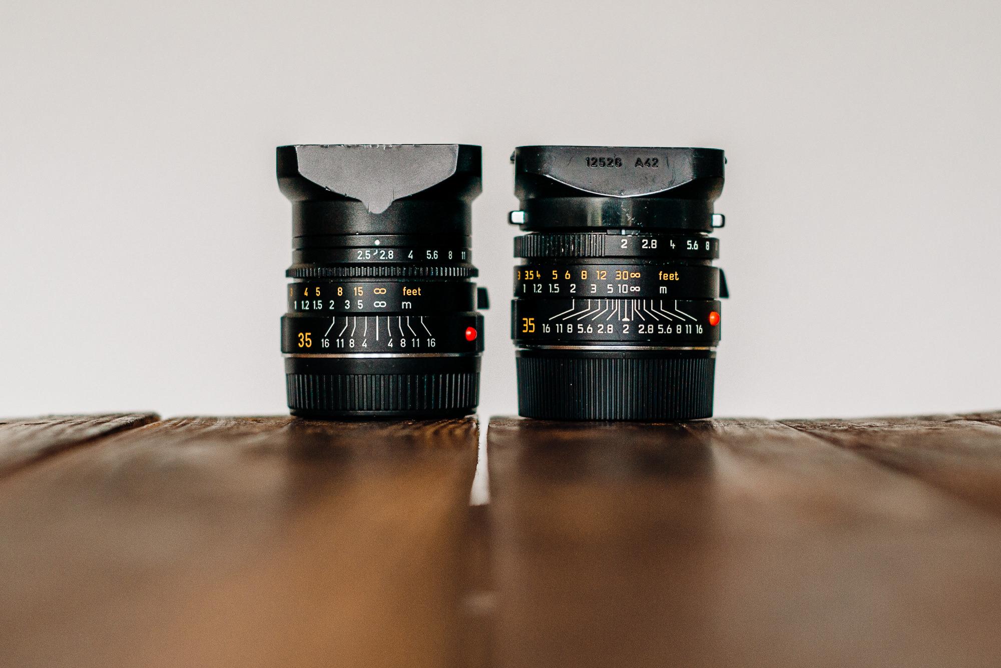 leica 35mm summicaron and summarit lenses